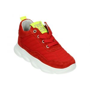 RED-RAG Low Cut Sneaker 13063 Rood Suède/Lime Combi