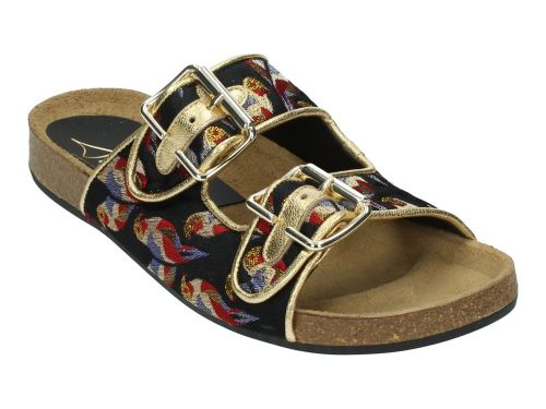 Toral Slipper 11016 Zwart/Multi Vogel Print 36-41